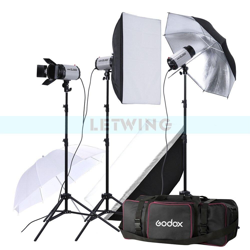 Godox 750W Photo Studio Flash Lighting set (3 x 250W) Photography Strobe Light & Softbox & Umbrella Reflector Portrait Kit