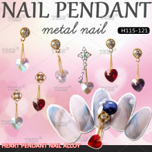 3pcs/lot Nail Jewellery with Long Chain Pendant Art Rhinestone Multi-color Heart Bride Wedding Decoration