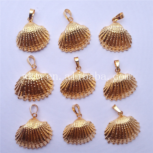 Wholesale newest hot full gold trim natural scallop shell pendant wholesale newest hot full gold trim natural scallop shell pendant lovely white scallop shell pendant aloadofball Image collections