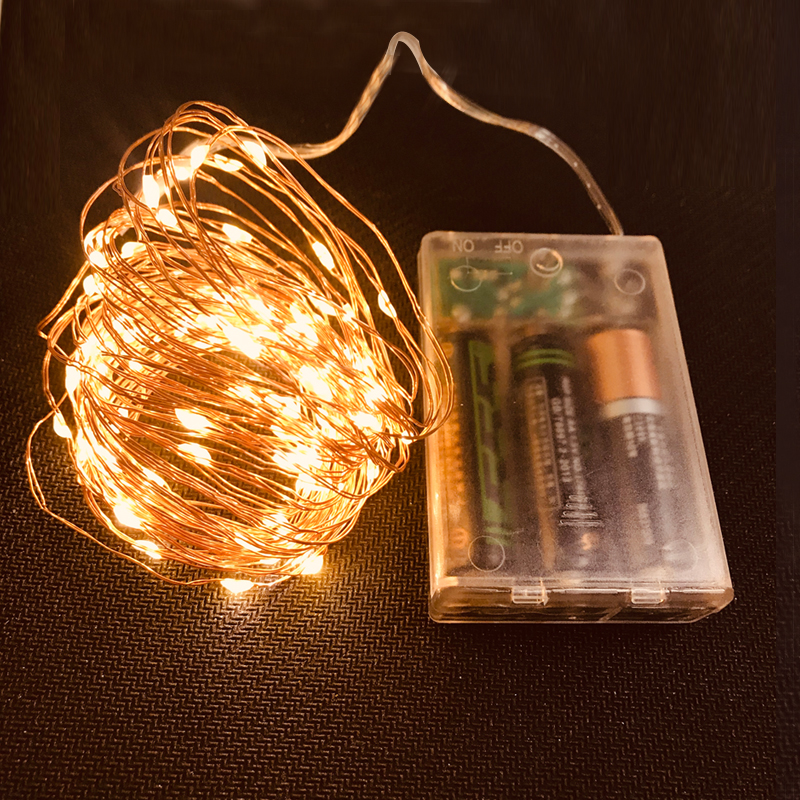 LED String <font><b>lights</b></font> 10M 5M 2M Copper Wire Garland <font><b>Home</b></font> Christmas Wedding Party <font><b>Decoration</b></font> Powered by AAA Battery Fairy <font><b>light</b></font> image