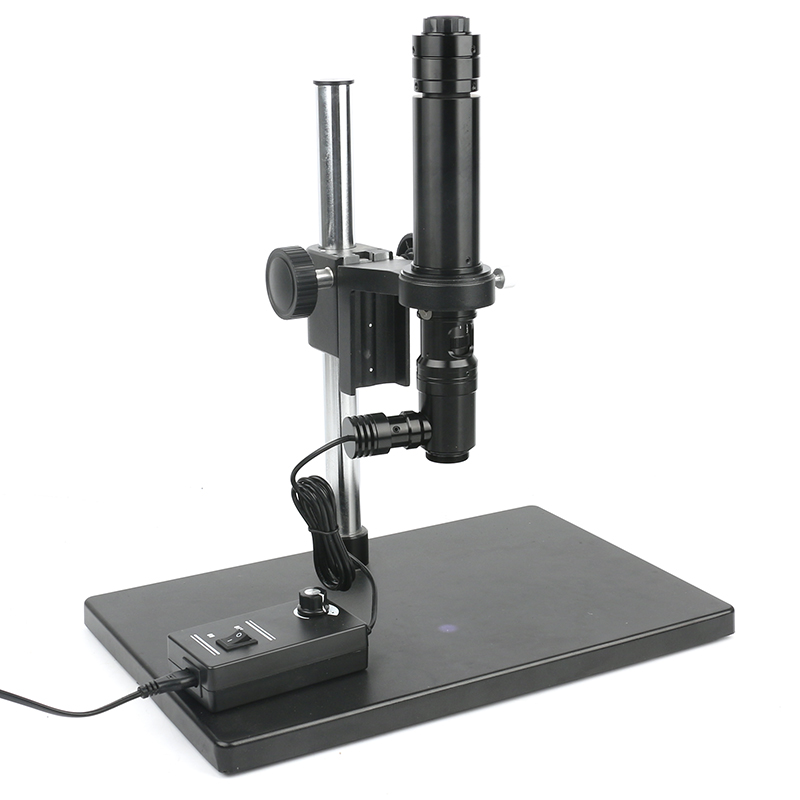 400X Coaxial Light Optics Microscope Zoom C mount <font><b>Lens</b></font> + CCD CMOS Industrial Camera <font><b>Big</b></font> Stand Holder For Phone Touch LCD ITO PCB image