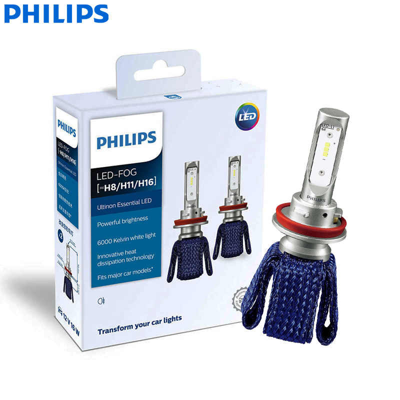 Philips Ultinon Essential LED Fog H8 H11 H16 12V 11366UEX2 6000K Car LED Fog Lamps Auto Bulbs ThermalCool (Twin Pack)