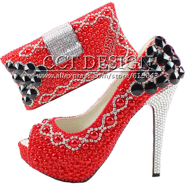 Something Red Wedding Shoes Customized Sparkly Diamond Red High ...