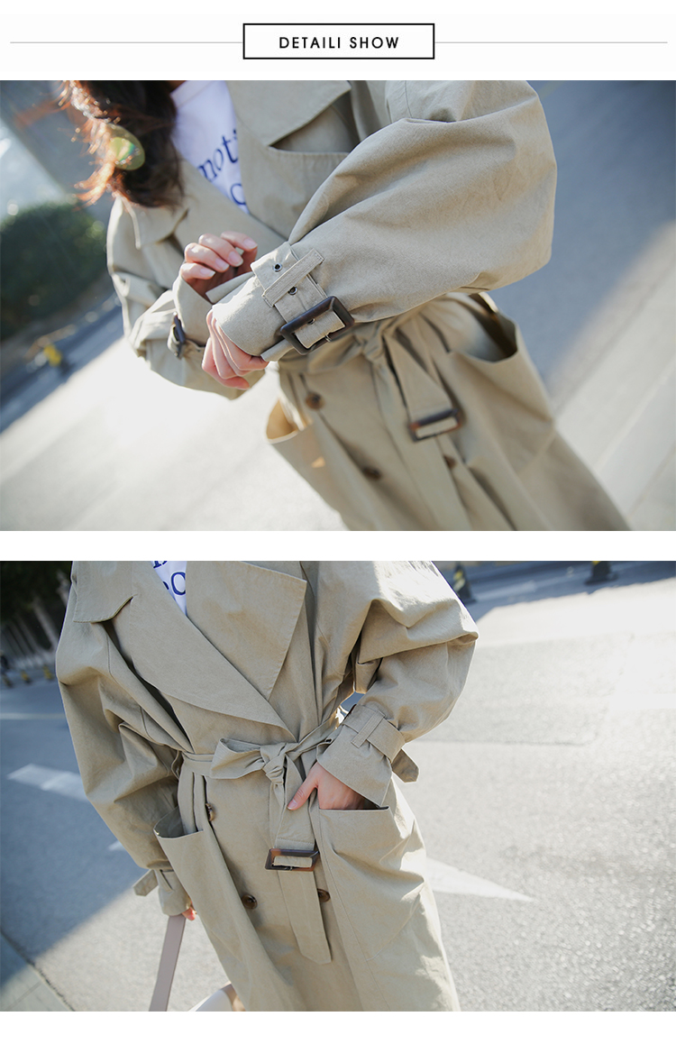 new arrival women fashion holiday comfortable loose trench coat professional OL temperament solid girls warm outdoor long trench 8