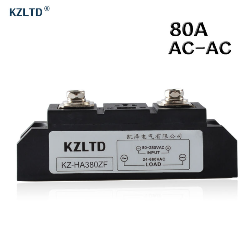 KZLTD SSR-80A AC-AC Solid State Relay 80A SSR Relay 80-280V AC to 24-680V AC Relay SSR Solid State Relays 80A Relais SSR 80A kzltd single phase ssr 4 20ma to 28 280v ac relay solid state 120a ac solid state relay 120a solid relays ks1 120la relais rele