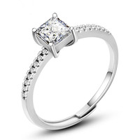 VOJEFEN Jewelry 925 Steling Silver Single Stone Engagement Ring Silver Ring with Square Cubic Zirconia Jewelry Ring NEW 2019