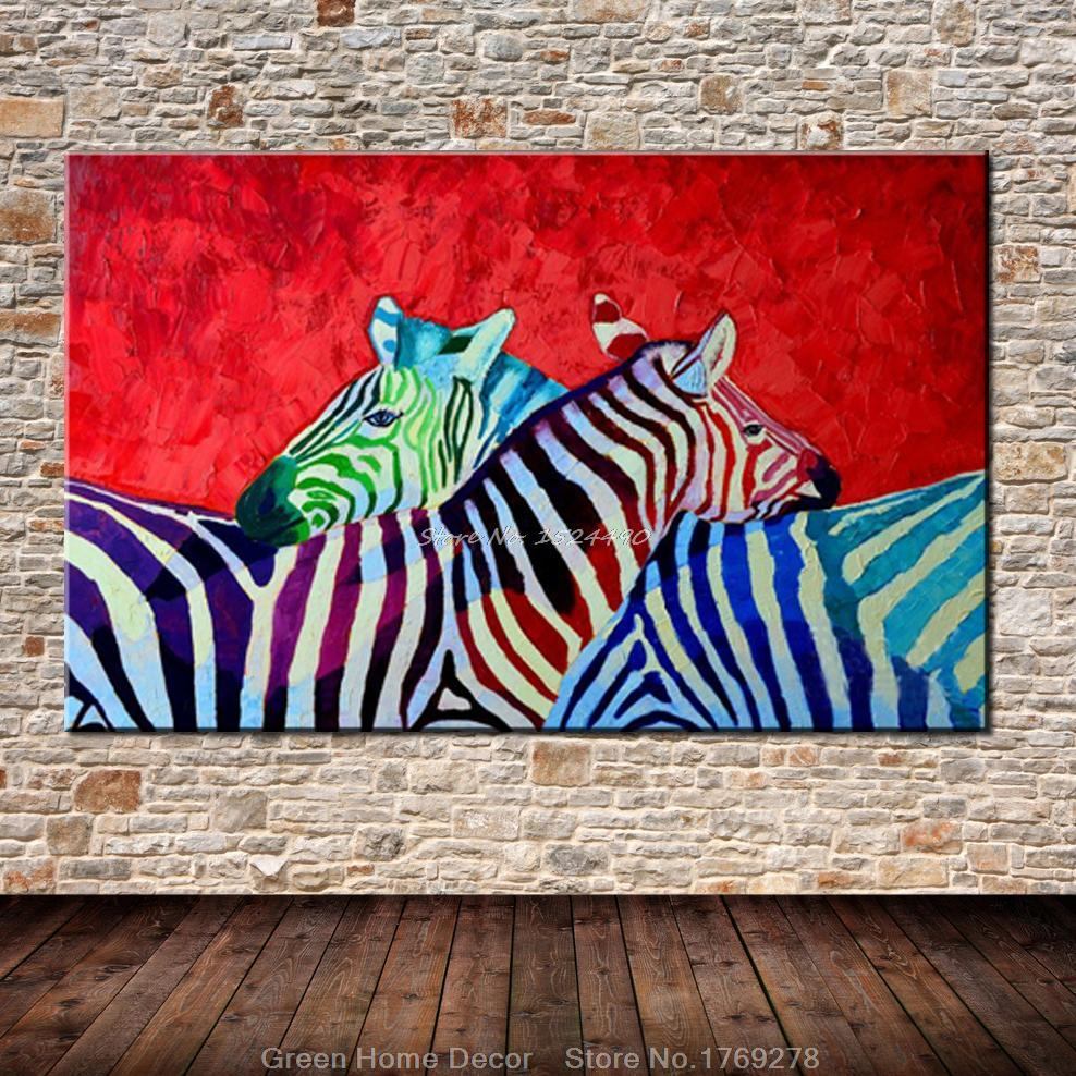 Oil Based Wall Paint Part - 33: Hand-painted Modern Red Base Horse Zebra Animal Oil Painting Wall Painting  Home Decoration Art