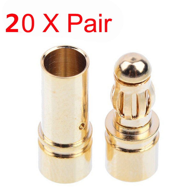 20 Pairs (40 Pcs) 3.5mm Bullet Connector Banana Plug Multirotor Spare Part For RC Battery / Motor RC Drone