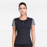 2017 New Athleisure Stripe Mesh Quick Drying Tops Sportes Fitness Gymming Shorting Sleeve T Shirt For