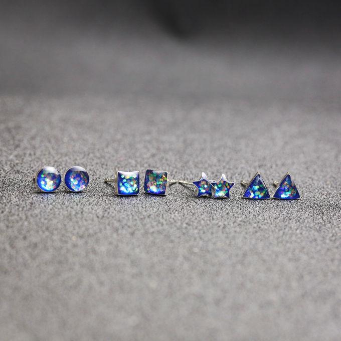 d0d29205f 925 Sterling Silver 5mm Starry Sky triangle heart shape Mini Stud ...
