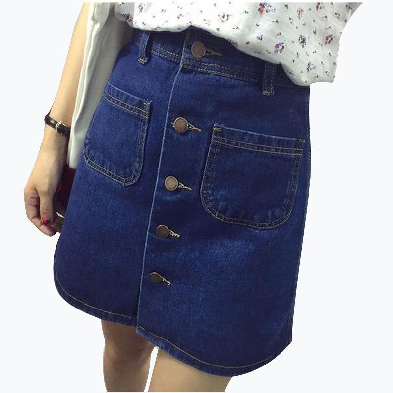 2018 New Fashion A-Line Korean Mini Jeans Skirt Thin Single Breast Button Slim Waist Denim Skirts Summer Cheap Sexy Skirt Women