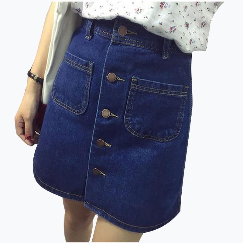 Fall 2018 Fashion A-Line Korean Mini Jeans Skirt Thin Single Breast Button Slim Waist Denim Skirts Summer Cheap Sexy Skirt Women