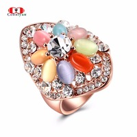 Allencoco Classic Luxury Mixed Crystal Opal AAA Zircon Rose Gold Color Fashion Finger Rings Jewelry For