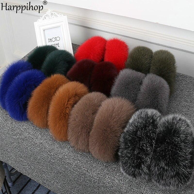 Women High Quality Fox Fur Cuffs  Wrist Warmer Genuine New Long Fox Fur Cuff Arm Warmer Lady Bracelet Real Fur Wristband Glove
