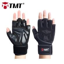 TMT Sports Antislip cimdi Half Finger Elpojoši pagarinātie rokas jostas Fitness Dumbbell Vīrieši Sievietes Svara celšanas sporta cimdi