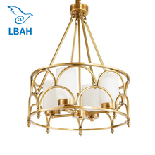 Contemporary  American creative full copper lamp glass designer example room sitting bedroom chandeliers