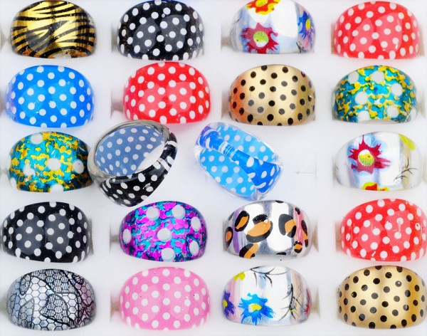 50Pcs lot Wholesale Lucite Childrens Kids Fashion Jewelry Cartoon Rings Mix Styles Round Head Resin Rings in Rings from Jewelry Accessories