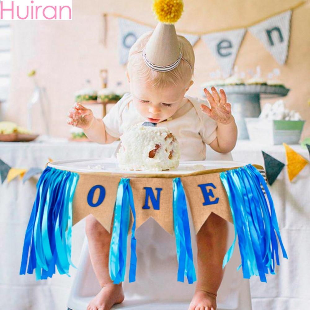 Huiran 1st Mutlu Doğum Günü Partisi Dekorasyon Çocuklar Doğum Günü Balon Bebek Duş 1 Yıl Doğum Günü Balonlar Parti Banner