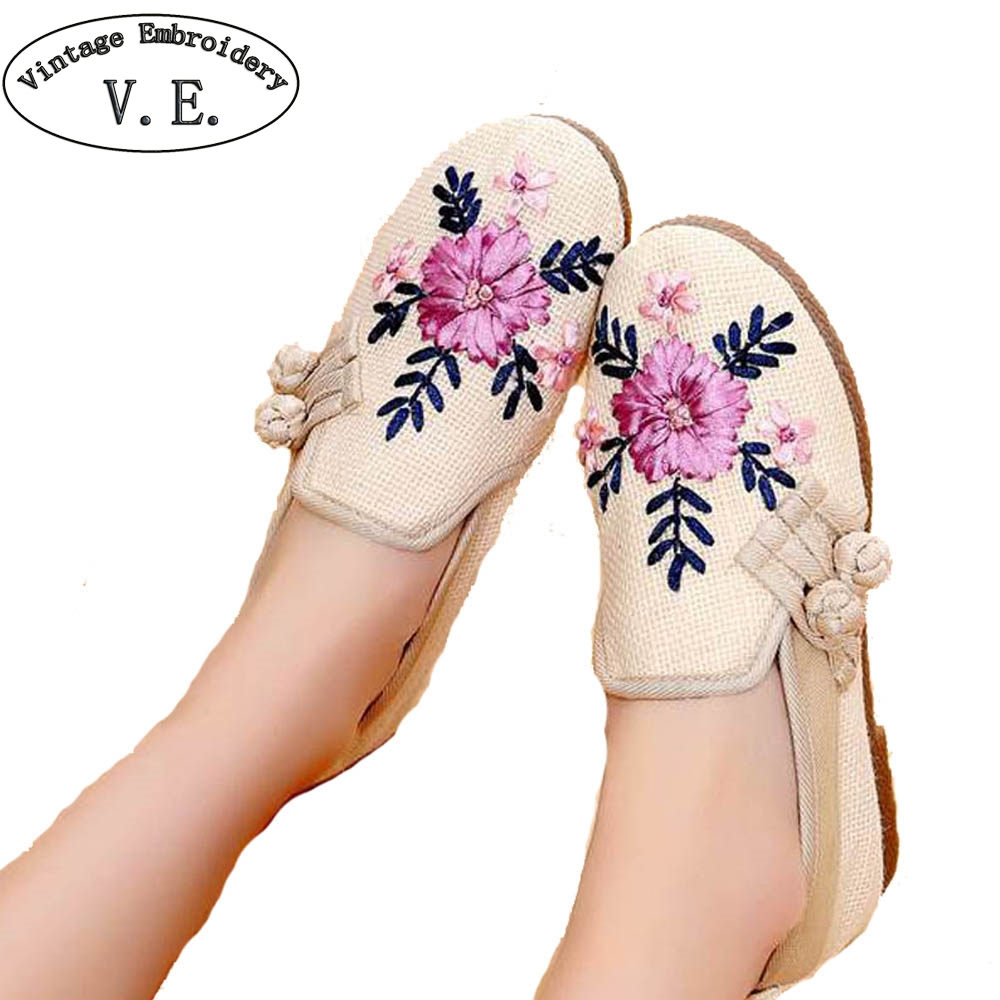 Vintage Embroidery Women Flats Chinese Old Peking Shoes Soft Sole Breathable Non Slip Hemp Line Shoes For Adult Plus Size 40 цена