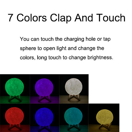 3D Print Moon Lamp Touch Remote Clap On Night Light Multicolor Change Home Bedroom Study Atmosphere Decor Family Friend Gifts