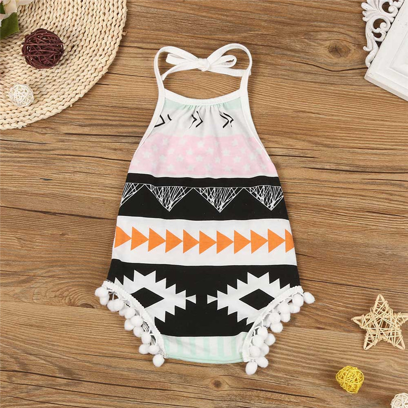 Summer Babys Romper Newborn Infant Baby Girls Print Sleeveless Tassels Strap Jumpsuit Romper Colthes Suit For 6-24M Baby M8Y10