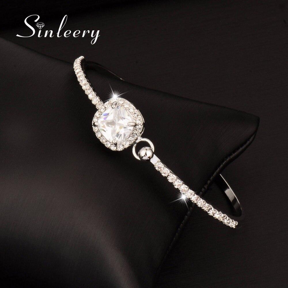 SINLEERY Elegant Square Zircon Pendant Necklace + Bracelets Bangle Jewelry Set For Women Rose Gold Color Jewellry Set TZ404