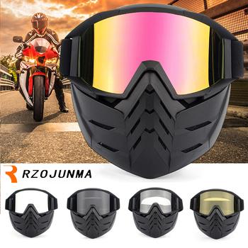 Na narty i rower maska motocyklowa gogle motocross motocykl silnik otwarta twarz odpinany gogle kaski okulary vintage Universal tanie i dobre opinie ROBESBON Unisex Jeden rozmiar MULTI Jasne