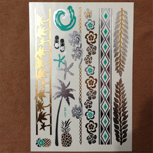 Hot Flash Metallic Waterproof Temporary Tattoo Gold Silver Men Women Henna Pineapple Mermaid Starfish Sea Tattoo Sticker Paster