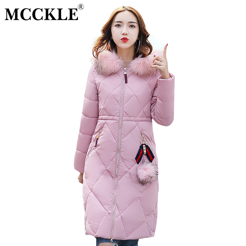 MCCKLE Plus Size Women Winter Coat Thick Warm Parka With Big Fur Collar Fashion Hooded Cotton Padded Long Puffer Coat Outerwear mcckle winter jacket with fur collar hooded cotton padded long puffer coat outwear women fashion thickening warm parka overcoat
