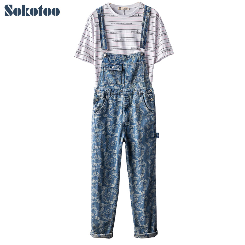 Dynamisch Sokotoo Mannen Bandana Paisley Borduren Blue Denim Bib Overalls Hip Hop Jeans Bloemen Gedrukt Bretels Jumpsuits