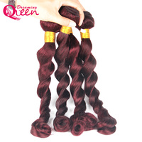 99J Burgundy Brazilian Loose Wave Human Hair Weave Bundles Ombre Human Hair Extension Weave Dreaming Queen