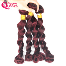 99J Burgundy Brazilian Loose Wave Human Hair Weave Bundles Ombre Human Hair Extension Weave Dreaming Queen No Remy Hair