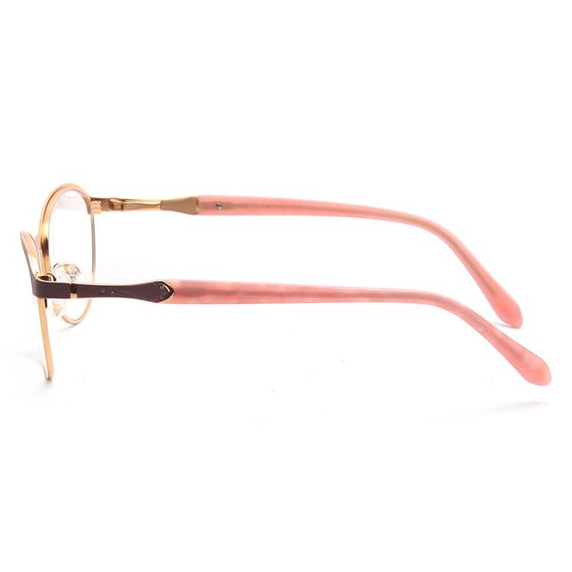 Diamond Decor Matte Rose Gold Metal Optical Frame