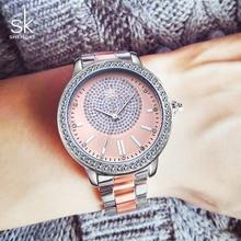 Shengke Luxury Crystal Women Silver Watches Ladies Quartz