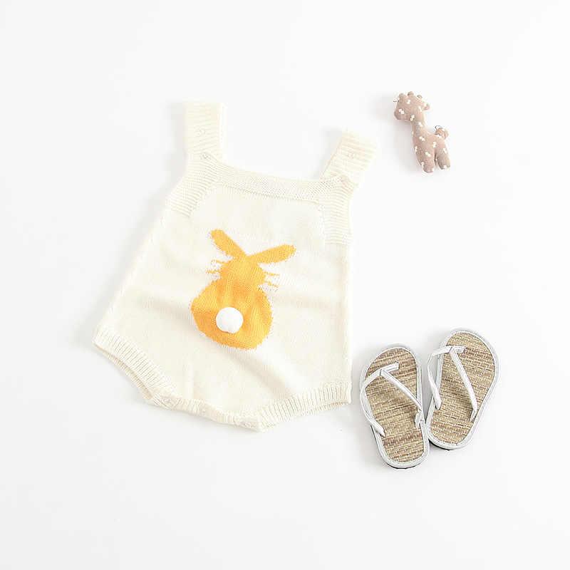 2018 Новинка весны Вязание маленьких infantile милый кролик ползунки, для маленьких девочек мальчиков комбинезон для малышей Комбинезоны для девочек детская одежда