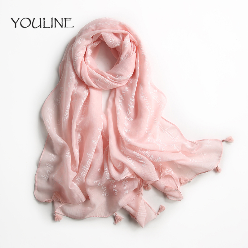AMII Scarf Women Spring Cachecol Women European And American Style !2018 Light Fringe Scarves Long Shawl Tassel Polyester