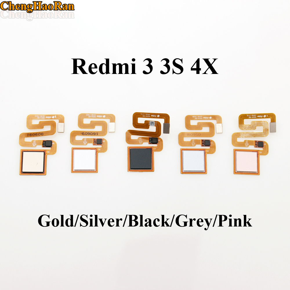 ChengHaoRan 1pcs Fingerprint Scanner For Xiaomi Redmi 3 3s 4X Pro Home Button Fingerprint Sensor Flex Cable Touch ID Return Key