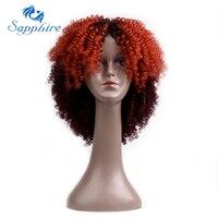 サファイア髪赤ブラジルレースフロント人間の髪の毛のかつら黒人女