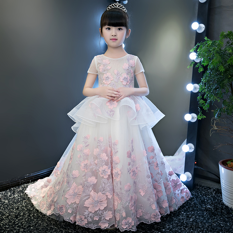 European Luxury Girls Party Princess Dress Kids Embroidered Formal Bridesmaid Wedding Birthday Christmas Ball Gown Dress IY302 2017 new flower girls party dress embroidered gownceremonial robe dress formal bridesmaid wedding girl christmas princess robe