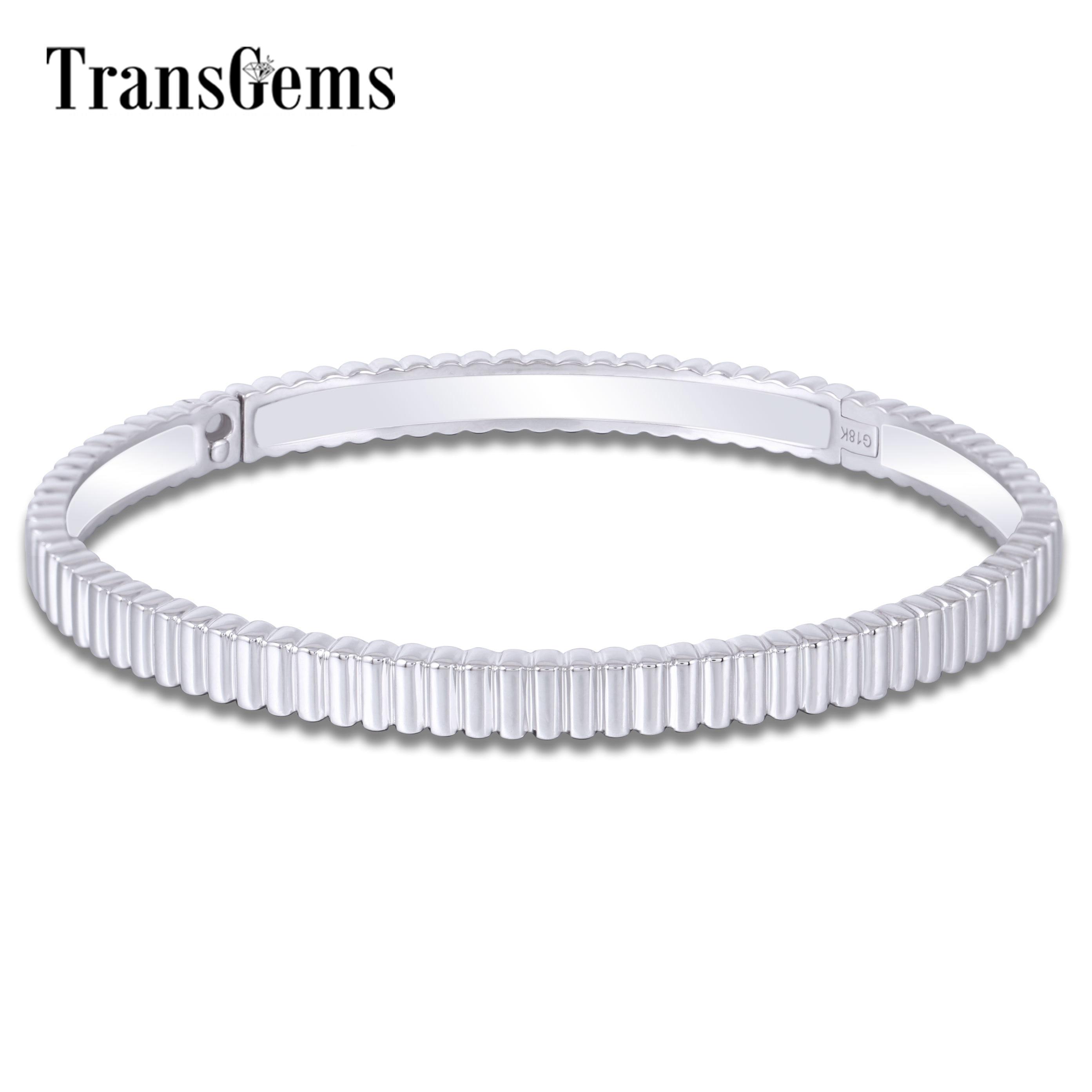 Transgems 18K 750 White Gold Wave Shape Bangle Bracelets for Women Size 16 Fine Jewelry Wedding