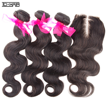 TD HAIR 9A Brazilian Virgin Human Hair Extension Body Wave 3 Bundles With Lace Closure Weave Unprocessed Color 1B Party Gifts