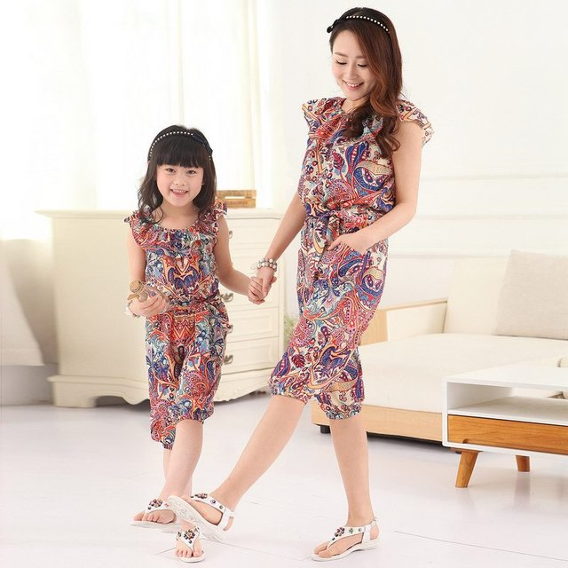 0d0b074fabbc 2015 summer style babymmclothes matching mother daughter clothes casual  rompers womens jumpsuit family look clothing plus size