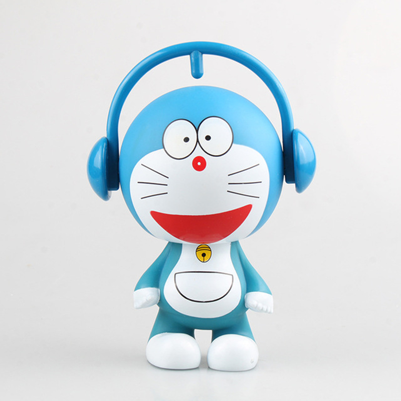18CM Cartoon Pokonyan Lovely Japanese Animation Cute Doraemon Toys PVC Model Piggy Bank with box Action & Toy Figures