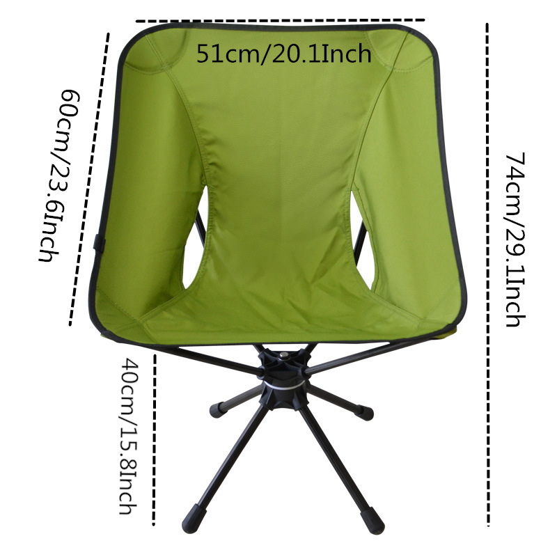 Image 2 - VILEAD Folding Swivel Moon Chair Aluminum Portable Camping Picnic BBQ Beach Fishing Outdoor Garden Seat High Load Ultralight-in Camping Chair from Sports & Entertainment