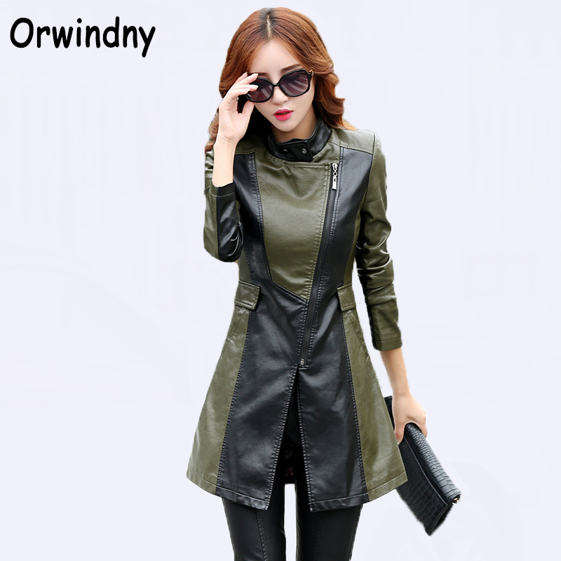 Women PU   Leather   Jacket 2018 Army Green Female Clothing New Fashion Style Zippers   Suede   Plus Size XS-3XL