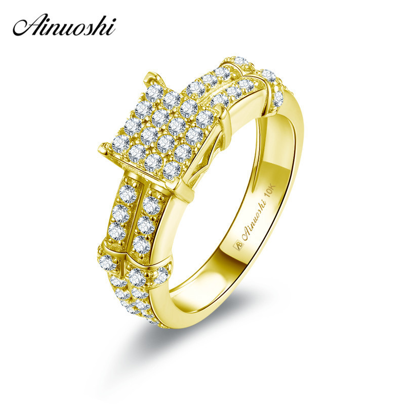 AINUOSHI 10k Solid Yellow Gold Square Ring Woman Wedding Engagement Bague Jewelry Bridal Band Anillo Shining SONA Diamond Ring