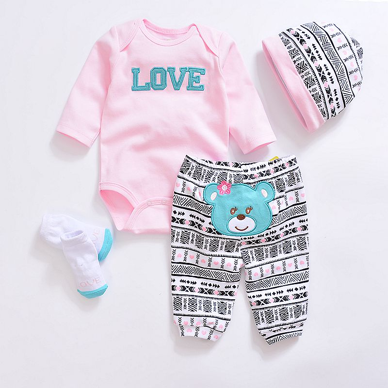 Baby Girls Clothes Long Sleeve Tops Bodysuit + Pants+socks Baby Leggings Headband Outfit Set