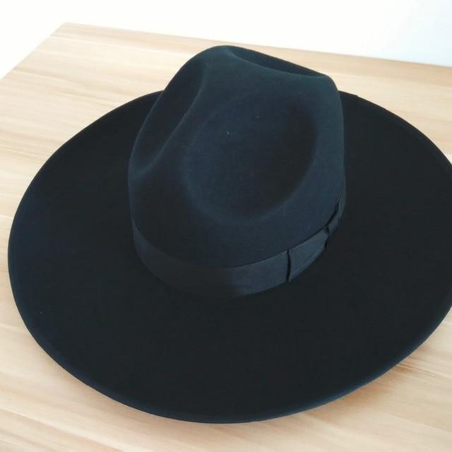 7e11ef14dfd2d Negro judía sombreros para hombre y mujeres de lana australiana pura del  sombrero de Fedora 12