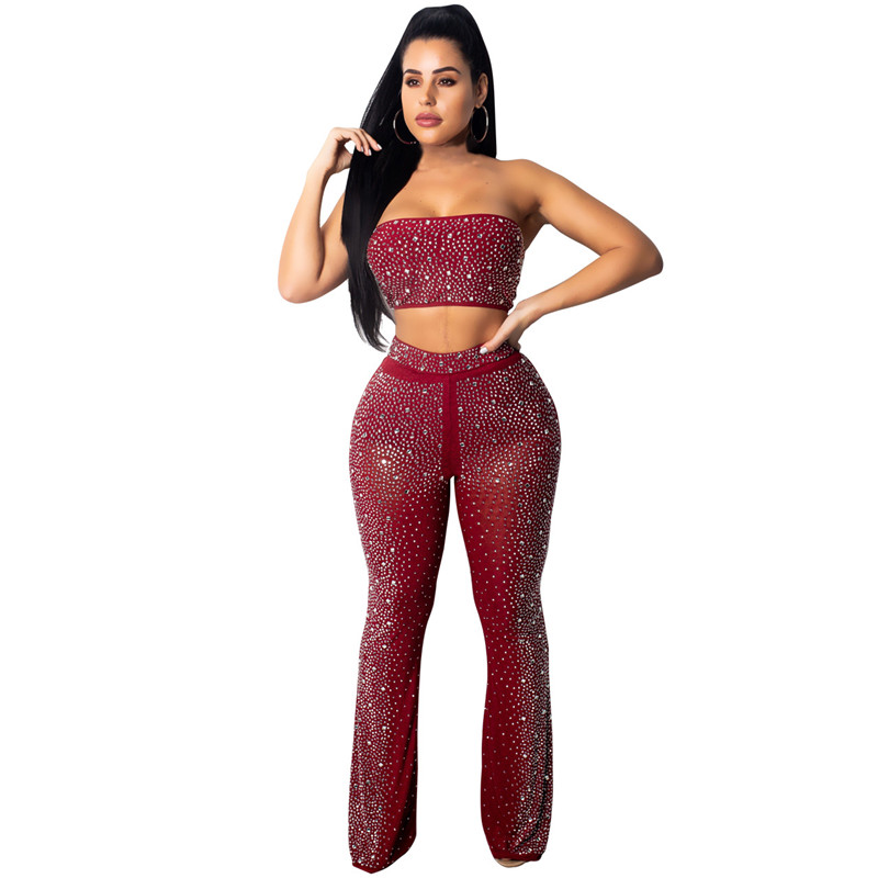 93f5ecfae1b Sexy Rhinestone Sheer Mesh Two Piece Sets Women Sparkly Nightclub Matching  Outfits Strapless Crop Top and Bodycon Flare Pants-in Women's Sets from  Women's ...