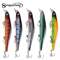 Spor ve Eğlence'ten Balıkçılık Yemleri'de Sougayilang 5 adet zoka yapay balık 12.5 cm/17g yüzen yapay sert yem bas Wobblers Lures Crankbait Pike kanca mücadele